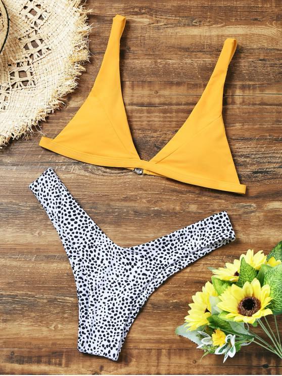 Conjunto de bikini de corte alto de leopardo - Amarillo S