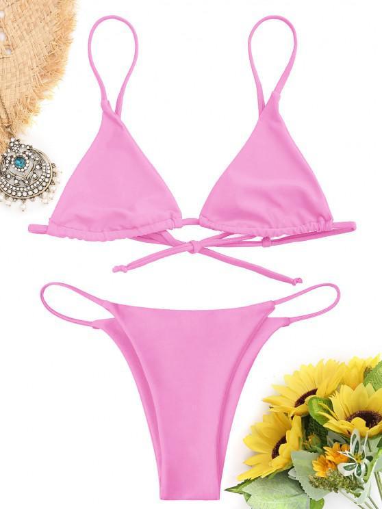 Traje de Bikini de Bralette con Cordones - Rosado L