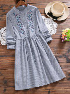 Embroidered Patch Striped A Line Dress - Stripe L