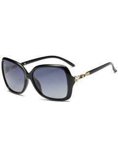 Rhinestone Inlay Sun Shades Oversized Sunglasses - Photo Black