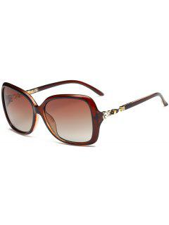 Rhinestone Inlay Sun Shades Oversized Sunglasses - Tea-colored