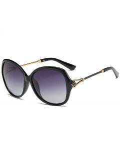 Anti-Fatigue Metal Carved Full Frame Oversized Sunglasses - Photo Black