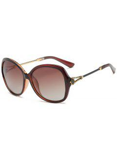 Anti-Fatigue Metal Carved Full Frame Oversized Sunglasses - Tea-colored