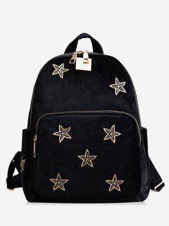 Stars Embroidery Side Pockets Backpack - Black