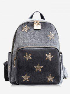 Stars Embroidery Side Pockets Backpack - Gray