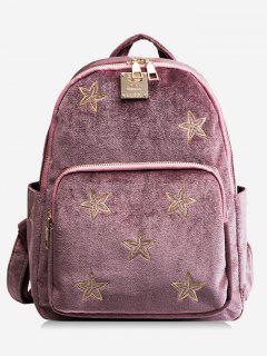 Stars Embroidery Side Pockets Backpack - Pink