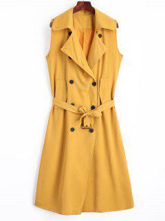 Longline Double Breasted Belted Waistcoat - Earthy M