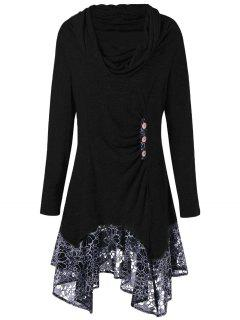 Plus Size Cowl Neck Floral Longline Top - Black 5xl