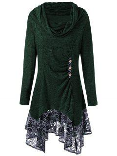 Plus Size Cowl Neck Floral Longline Top - Blackish Green 5xl