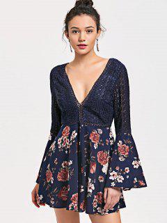 Floral Low Cut Crochet Hollow Out Romper - Cerulean M