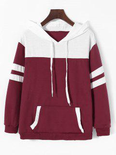 Striped Drawstring Kangaroo Pocket Hoodie - Deep Red L
