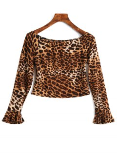 Off Shoulder Flare Sleeve Leopard Crop Tee - Brown Leopard M