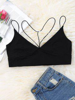 Strappy Cropped Bralette Tank Top - Black S