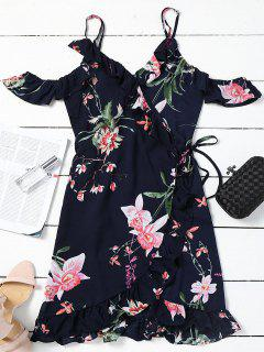 Floral Cold Shoulder Wrap Mini Dress - Purplish Blue M