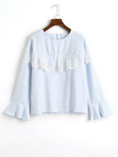 Mesh Panel Flare Sleeve Striped Blouse - Light Blue M