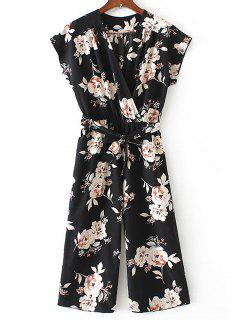 Crossed Front Belted Floral Jumpsuit - Black S