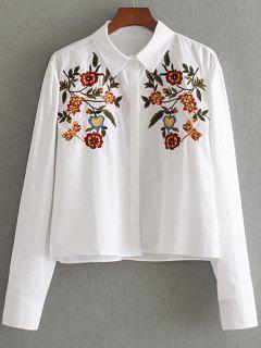 Camisa Bordada Floral Del Botón Oculto - Blanco M