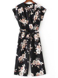 Crossed Front Belted Floral Jumpsuit - Black L