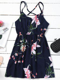 Elastic Waist Criss Cross Floral Romper - Purplish Blue Xl