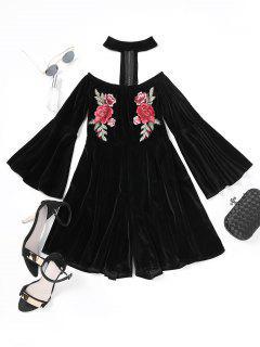 Floral Patched Flare Sleeve Velvet Choker Romper - Black L