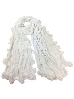 Vintage Wrinkle Silky Long Shawl Scarf - White