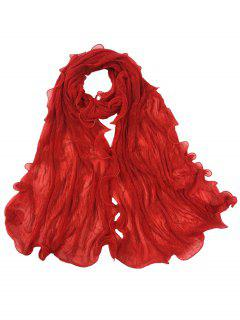 Vintage Wrinkle Silky Long Shawl Scarf - Bright Red