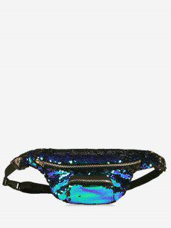 Sequins Fanny Pack - Blue And Black