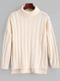 Turtleneck Side Slit Chunky Sweater - Apricot