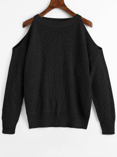 Crew Neck Cold Shoulder Pullover Sweater - Black