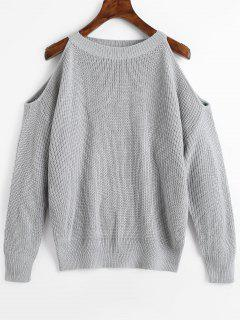 Crew Neck Cold Shoulder Pullover Sweater - Gray
