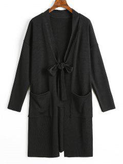 Side Slit Tied Bowknot Longline Cardigan - Black L
