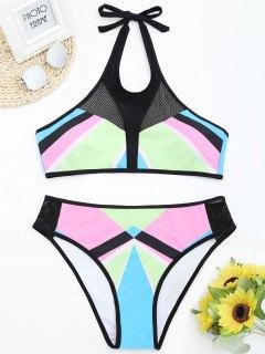 Fishnet Panel Color Block Plus Size Bikini Set - 2xl