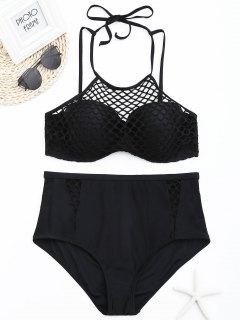 Fishnet Overlay Underwire Plus Size Bikini Set - Black 4xl