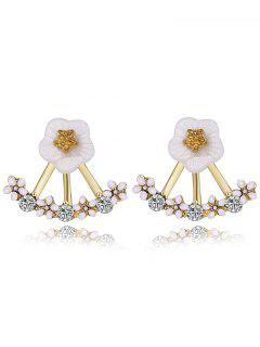 Floral Faux Crystal Hollow Out Stud Earrings - White And Rose Gold