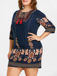 Keyhole Tassel Blumendruck Plus Size Kleid - Cadetblue 5xl