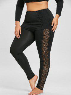 Plus Size Lace Applique Leggings - Black 3xl