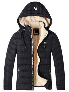Detachable Hooded Zip Up Fleece Padded Jacket - Black 3xl
