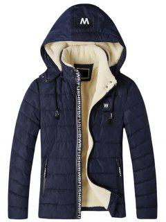 Detachable Hooded Zip Up Fleece Padded Jacket - Cadetblue 2xl