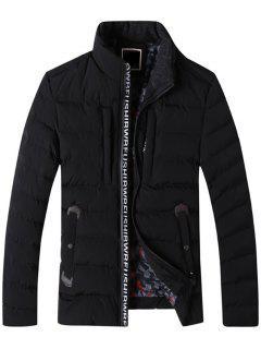 Graphic Edging Zip Up Padded Jacket - Black 3xl