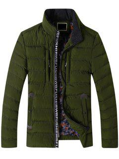Graphic Edging Zip Up Padded Jacket - Army Green 2xl