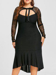 Plus Size Lace Trim Cut Out Mermaid Dress - Black 2xl