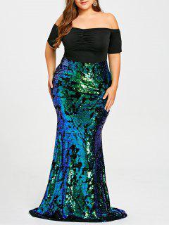 Plus Größe Aus Der Schulter Pailletten Meerjungfrau Kleid - Grün 5xl