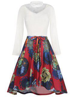 Lace Panel High Low Bowknot Vintage Dress - White 2xl