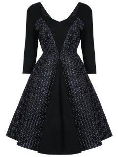 Vintage Plaid Panel Sweetheart Dress - Black M