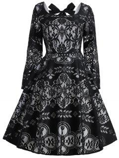 Vintage Bowknot Back Lace Dress - Black S