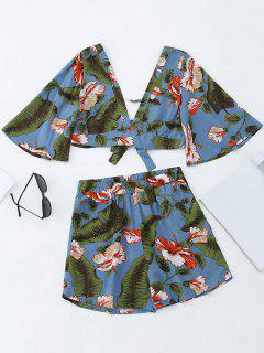 Bowknot Floral Cropped Top And High Waisted Shorts - Blue S