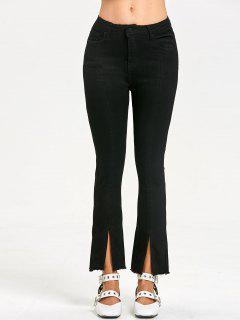 Zipper Fly Slit Frayed Jeans - Black Xl