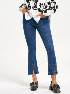 Zipper Fly Slit Frayed Jeans - Blue S