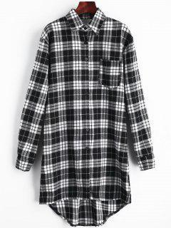 Cut Out Back Checked Pocket Dress - Black L