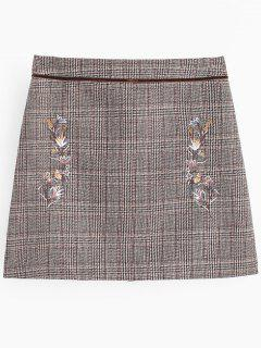 Floral Patched A Line Checked Skirt - Checked Xl